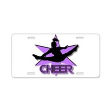 Cheerleader in purple Aluminum License Plate