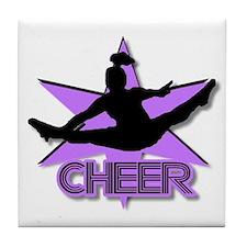 Cheerleader in purple Tile Coaster