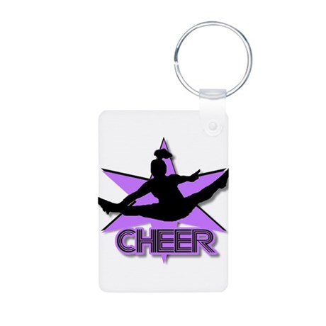 Cheerleader in purple Aluminum Photo Keychain