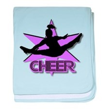 Cheerleader in purple baby blanket
