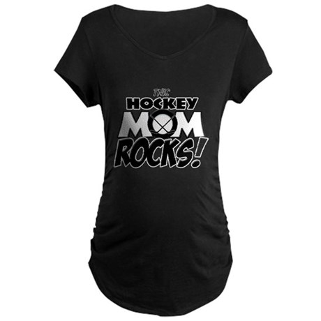 This Hockey Mom Rocks copy.png Maternity Dark T-Sh
