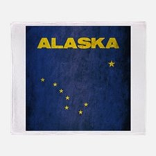 Grunge Alaska Flag Throw Blanket