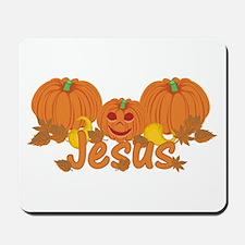Halloween Pumpkin Jesus Mousepad