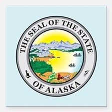 "Alaska Seal Square Car Magnet 3"" x 3"""