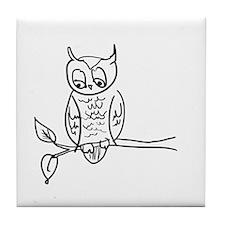 Little Hoot - Owl on Branch Tile Coaster