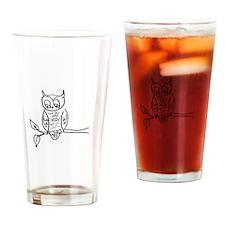 Little Hoot - Owl on Branch Drinking Glass