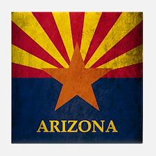 Grunge Arizona Flag Tile Coaster