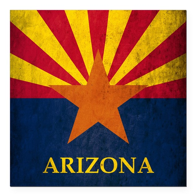Grunge Arizona Flag Square Car Magnet 3 X 3 By America