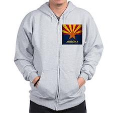 Grunge Arizona Flag Zip Hoodie