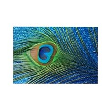 Glittery Blue Peacock Rectangle Magnet