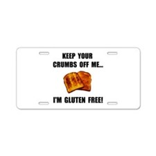 Crumbs Off Me Gluten Free Aluminum License Plate