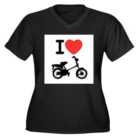 I Heart Mopeds Women's Plus Size V-Neck Dark T-Shi