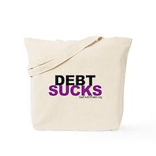 Debt Sucks Purple Clear Tote Bag