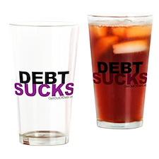 Debt Sucks Purple Clear Drinking Glass