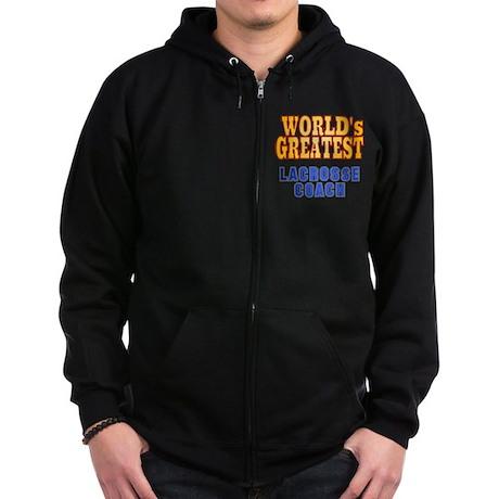 World's Greatest Lacrosse Coach Zip Hoodie (dark)