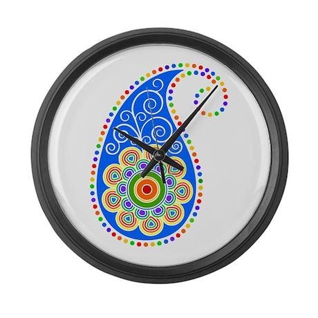 Colorful Paisley Large Wall Clock