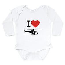 I Heart Helicopter Long Sleeve Infant Bodysuit