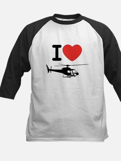 I Heart Helicopter Kids Baseball Jersey