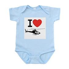 I Heart Helicopter Infant Bodysuit