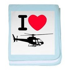 I Heart Helicopter baby blanket