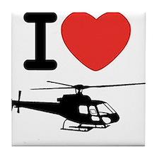 I Heart Helicopter Tile Coaster