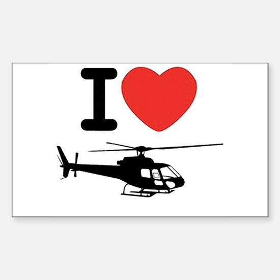 I Heart Helicopter Sticker (Rectangle)