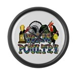 Team Poultry Large Wall Clock