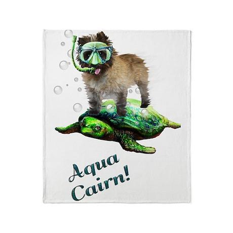 Aqua Cairn Terrier Throw Blanket