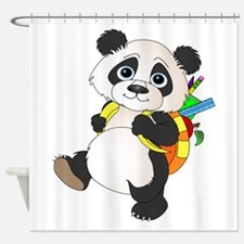 Panda bear with backpack Shower Curtain