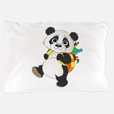 Panda bear with backpack Pillow Case