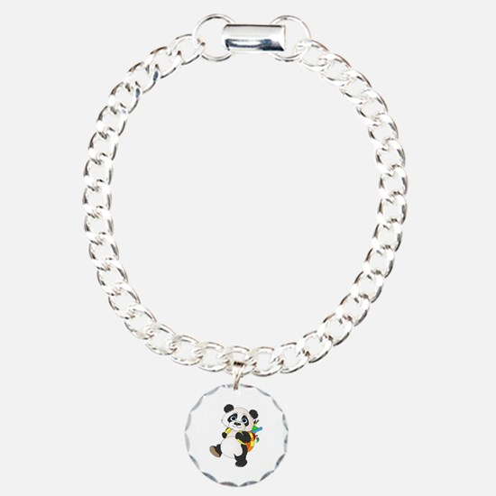 Panda bear with backpack Charm Bracelet, One Charm