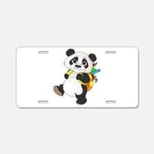 Panda bear with backpack Aluminum License Plate