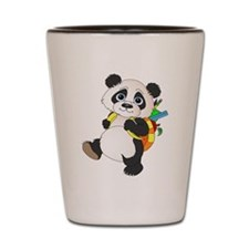 Panda bear with backpack Shot Glass