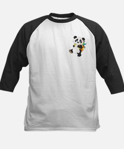 Panda bear with backpack Kids Baseball Jersey