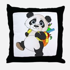 Panda bear with backpack Throw Pillow