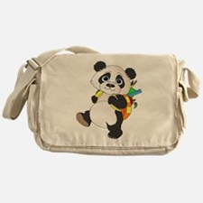 Panda bear with backpack Messenger Bag