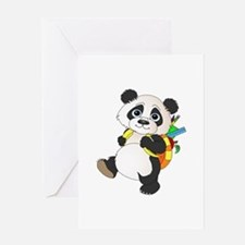 Panda bear with backpack Greeting Card