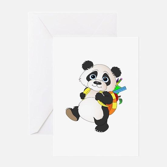 Panda bear with backpack Greeting Card