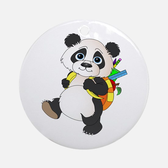 Panda bear with backpack Ornament (Round)