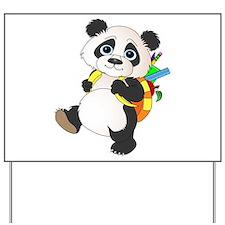 Panda bear with backpack Yard Sign