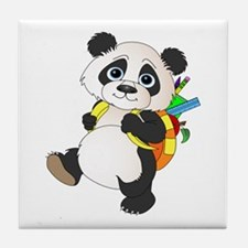 Panda bear with backpack Tile Coaster