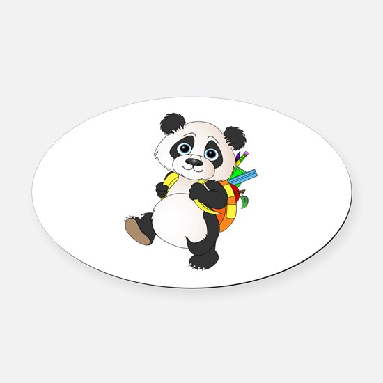 Panda bear with backpack Oval Car Magnet