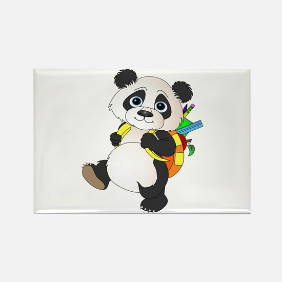 Panda bear with backpack Rectangle Magnet