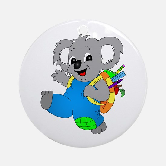 Koala Bear with backpack Ornament (Round)