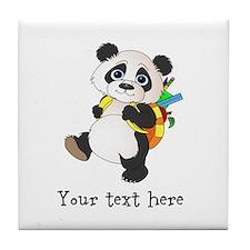 Personalize It - Panda Bear backpack Tile Coaster