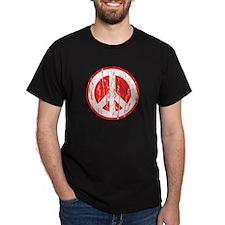 Vintage Peace Sign Black T-Shirt