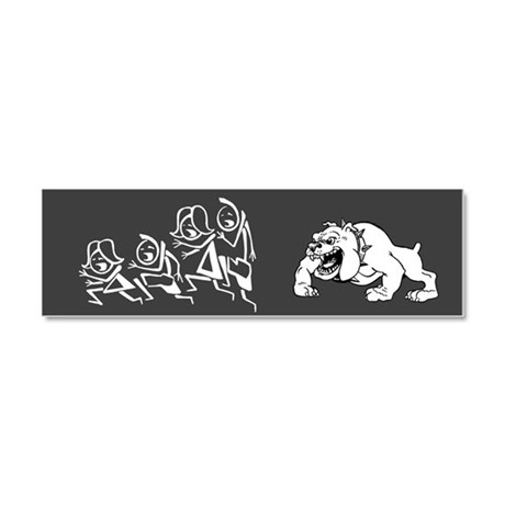 Dog Chasing Stick Family Car Magnet