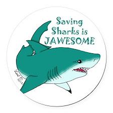 Saving Sharks Round Car Magnet