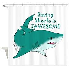 Saving Sharks Shower Curtain