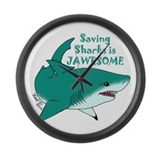 Saving Sharks Large Wall Clock